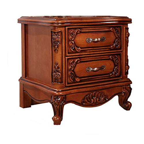 N/G Elegant And Noble Bedside Table, Retro Bedroom Special Solid Wood Bedside Table, Hard And Firm, Two Drawers, Thick Wooden Material, Suitable For All Kinds Of Beds, 56.5X43X58Cm