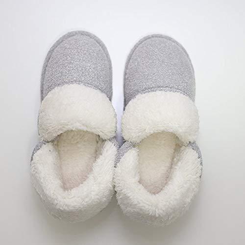 HIUGHJ Zapatillas de casa de Felpa Zapatillas de Mujer Zapatillas de Piel de Invierno...