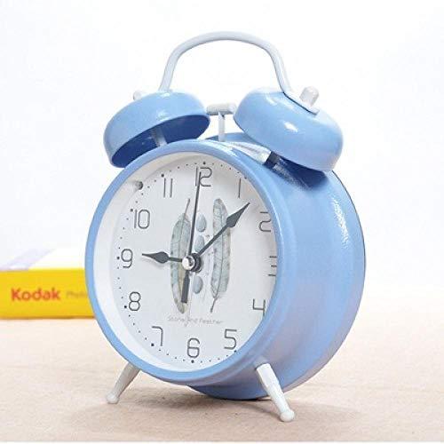 FPRW Retro wekker met dubbele bel, verlicht nachtkastje, belring, mechanisch, stil, 4 inch, sterke wekker, nostalgisch, blauw