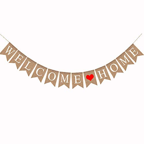 MEJOSER  Willkommen Home Girlande Welcome Home Banner Jute Stoff rustikale Sackleinen Bunting, 2,8 M Vintage Willkommen Home Dekoration für Familie Party Dekoration Photo Booth Props Foto Requisiten