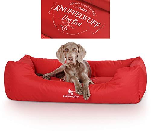 Knuffelwuff Hundebett Ryan Bedruckt Hundekorb Hundesofa Hundekissen Hundekörbchen sehr Robust aus texturiertem Nylon waschbar 85 x 63cm Rot