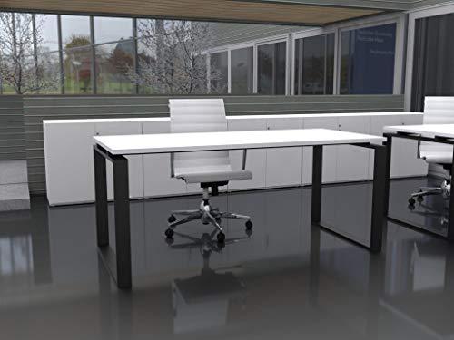Mesa de Oficina con Estructura Cerrada, de 160x80cm. FABRICACIÓN Nacional. Entrega de 3 a 7 dias. (Tablero Blanco, Estructura Negro)
