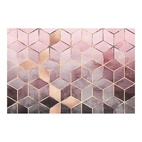 Bilderwelten Tapete selbstklebend - Rosa Grau goldene Geometrie - Vliestapete 290 x 432cm