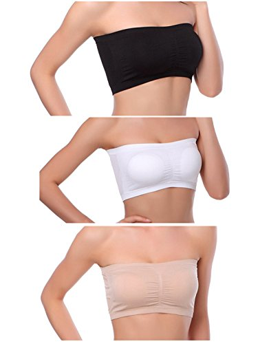 Venbond 3-4Packs Women's Seamless Bandeau Crop Tube Top Bra Strapless Padded Brarette (M, Assorted 3 Colors)