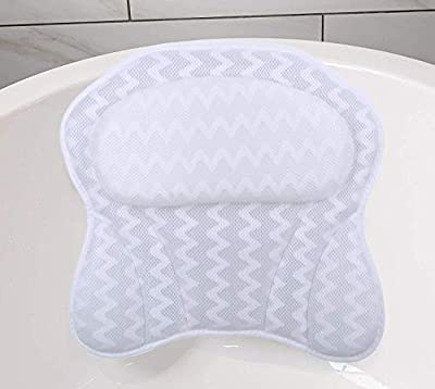 WOWCASE Bath Pillow for Bathtub Luxury 3D Air Bathtub Pillow For Women Men Bath Tub Pillow for Back And Head Ergonomic Comfort Spa Pillow for Straight Back Tub And Neck Head Shoulder Support (White)