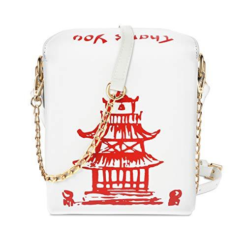 Fashion Crossbody Umhängetasche, i5 Chinesische Takeout Box Geldbörse mit komfortablem Kettenriemen, Weiß (Weiß-Rot1), Einheitsgröße