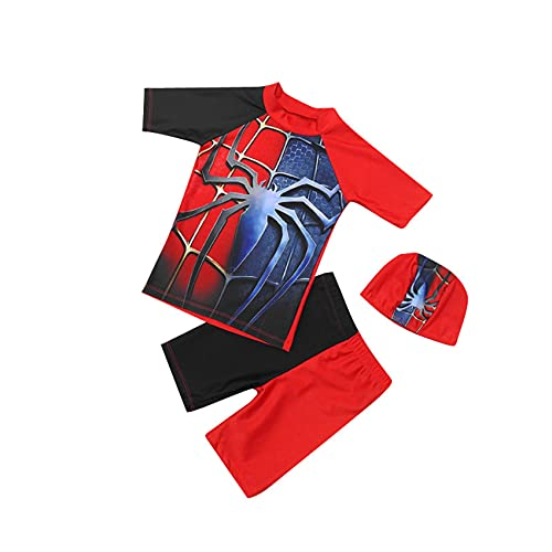 XNheadPS Spiderman superhéroe Sudadera con Capucha Traje Cosplay Body Set Girl Boy Casual Kit Muchoso Impresión 3D Zentai Lycra Onesies Vestido de Fantasía Partido Traje,Black- Kid M(115~125cm)
