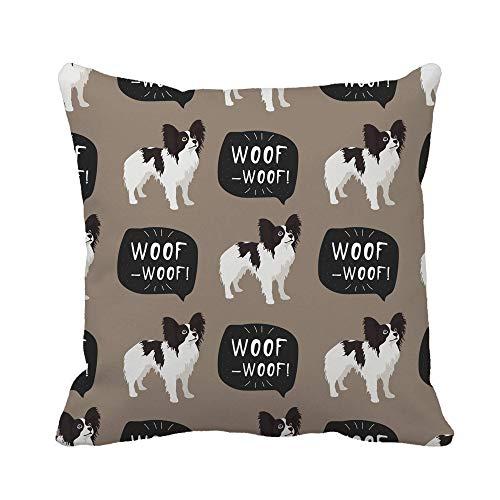 Throw Pillow Cover Brown Adorable Papillon Dog Raza Francesa Animal Colorido Funda de Almohada británica Funda de Almohada Cuadrada Decorativa para el hogar Funda de cojín
