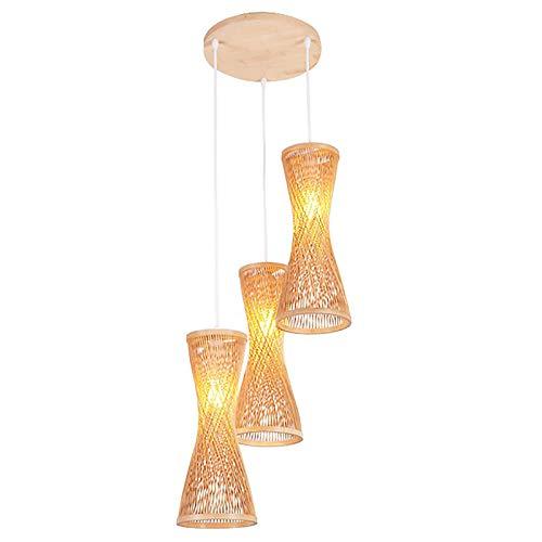 HIZH Vintage Deckenleuchte Moderne Bambus Rattan Deckenpendelleuchte Shade Handgefertigter Rattan Pendelleuchte E27 Gewebt Hängeleuchten Höhenverstellbar Lampe