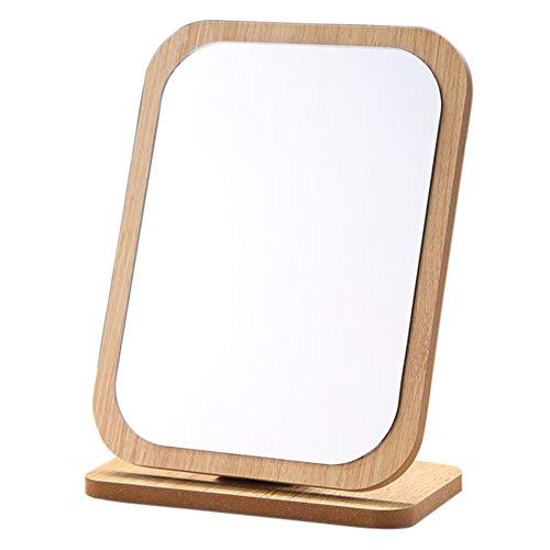 Modenny Maquillage Compact Miroir sur Pied en Bois Petit Bureau Angle Portable réglable en Aluminium de Poche cosmétique Table Mignon Pliable
