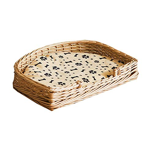Rotan hond mand huisdier wieg met katoen en bamboe matras huisdier kat bed gewatteerde bed Bolster bed 2 kleuren huisdier Nest Kennel YUXO, 69X50X12CM, A