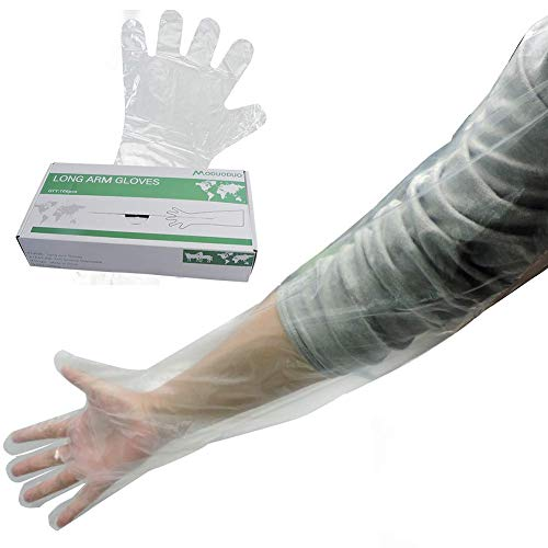 100Pcs Disposable Veterinary Gloves Artificial Insemination Glove Long Arm Examination Multification Non-Sterile Glove