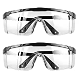 (2 Pairs) Safety Glasses Goggles for Eye Protection Protective Eyewear Anti Fog Eye Shield Goggles Scratch Resistant Best Safety Goggles over Glasses for Men Women by extending both temples at fullest length.