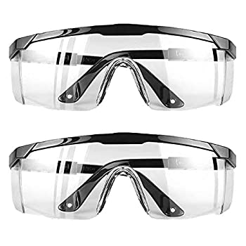 2 Pairs  Safety Glasses Goggles for Eye Protection Protective Eyewear Anti Fog Eye Shield Goggles Scratch Resistant Best Safety Goggles over Glasses for Men Women by extending both temples at fullest length.