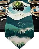 LFERRTYZ Camino de mesa triángulo con pintura de tinta para...