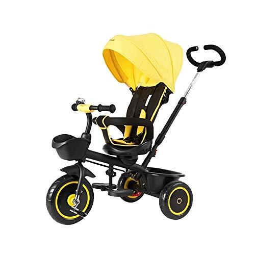 WOF 4-in-1 Kinder Dreirad Klapp Baby Dreirad verstellbare Markise, Klapp ABS Fußpedale, Drehsitz, Aufbewahrungstasche, für 1,2,3 Jahre alt (Color : Yellow)
