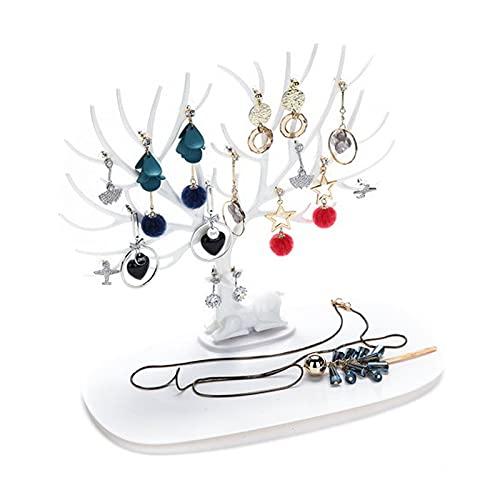 Soporte de joyería de cervatillo, pantalla de organizador de collar de PS, soporte árbol de joyería la torre de la torre de la pulsera con la base de la bandeja para la brazalete, pendientes, anillo