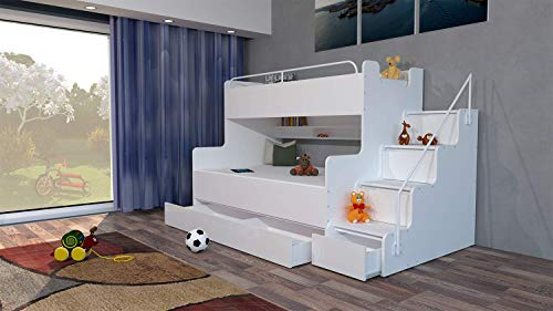Just4U MODERN BEDROOM KIDS YOUTH DOUBLE TRIPLE BUNK BED STORAGE MATTRESSES BOY GIRL