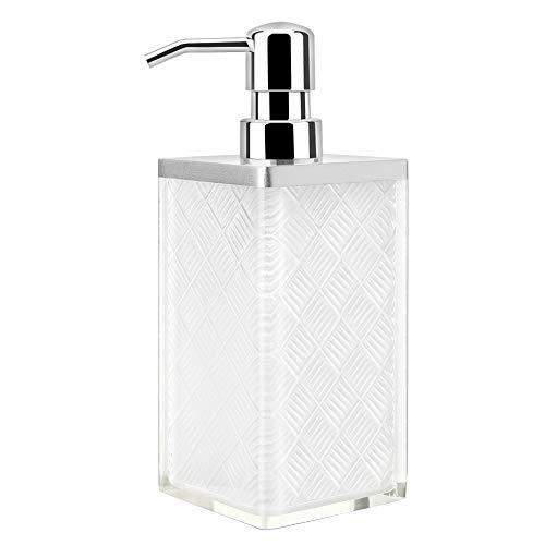 Luxspire Seifenspender, 500 ml Flüssigseifen Spülmittel Spender aus Harz, Elegant Zubehör Deko für Bad Badezimmer Waschbecken Kitchen - Rechteckig & Rautenmuster