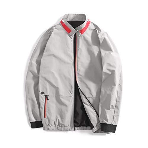 QJY Casual Jacket voor heren lichte jas met rits aan de voorkant Regenjas (normale maat en groot en hoog) Gray-XXXL