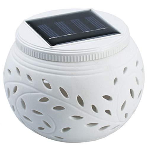GEEKEN LáMpara Solar Al Aire Libre una Prueba de Agua Luz LED Colorido Ahueca Hacia Fuera LáMpara de CeráMica LáMpara de JardíN LáMpara de Mesa Dos Modos de Interruptor