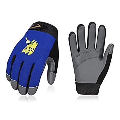 Vgo Age 9-11 Junior High Dexterity Goat Leather Light Duty Work Gloves(1 Pair,Size XS, Blue, GA9603)