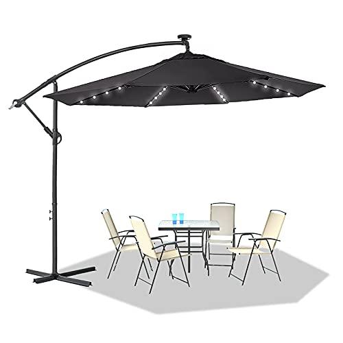 UISEBRT Alu Sonnenschirme 300cm höhenverstellbarer mit Solarbetriebene Warmweiß LED - Dunkelgrau Gartenschirm Balkonschirm Terrasse UV Schutz 40+ (300cm mit solar LED,Dunkelgrau)