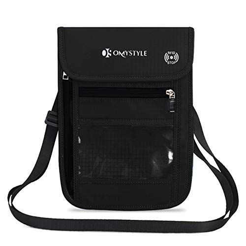 OMYSTYLE Travel Neck Pouch, RFID Passport Holder with Adjustable Neck Strap, Waterproof Neck Wallet for Men & Women to Keep Cash, Credit Cards and Documents Safe, Black