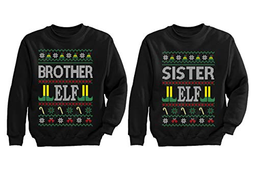 Moletom Irmã Elfo Irmã Irmã Feio Natal Combinando Família Infantil, Brother Elf Black / Sister Elf Black, Brother Elf Large / Sister Elf Large