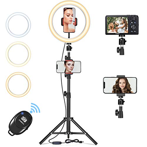 Orieta Aro de Luz Selfie Trípode, Anillo de Luz LED con Soporte para Móvil con Control Remoto Regulable para Transmisión en Vivo, Maquillaje Youtube Tiktok Fotografía Compatible con iOS Android