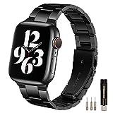 HKTM コンパチブル apple watch バンド ステンレス製 アップルウォッチ ベルト調整工具 バンド 対応Apple Watch SE ,Series 6 5 4 3 2 1 (42mm/44mm, ブラック)