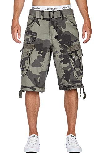 Geographical Norway heren Cargo Shorts Panoramique Camo Korte zomerbroek incl. riem, zijzakken