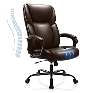 Executive Office Desk Chair High Back Adjustable Ergonomic Managerial Rolling Swivel Task Chair Computer PU Leather Home Office Desk Chairs with Lumbar Support, Brown