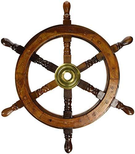 """Ectoria timone di legno: pirata barca ruota nautico pesca 15"""" Diameter Earthen"""