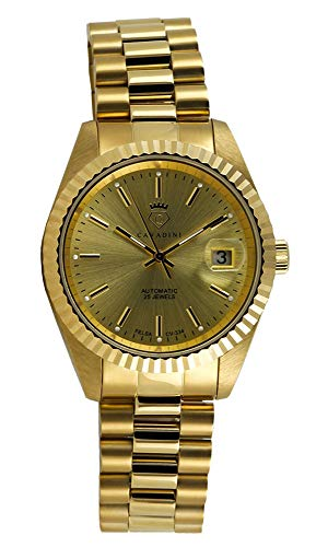 CAVADINI Leonardo Herren-Armbanduhr Automatik mit Schweizer Uhrwerk massiv Edelstahl CV-334 (Gold/Gold)