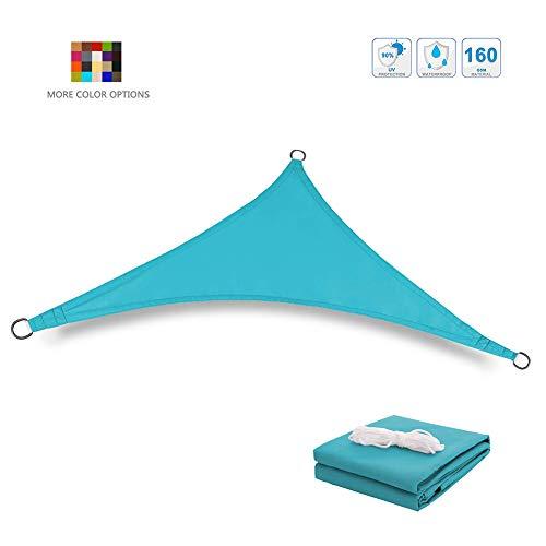 MikusangT Sonnensegel Dreieckig Tmungsaktiv Sonnenschutz Sonnenschutznetz Sonnenabweisend Einfache Montage Für Camping Garten Terrasse schattiernetz Blau