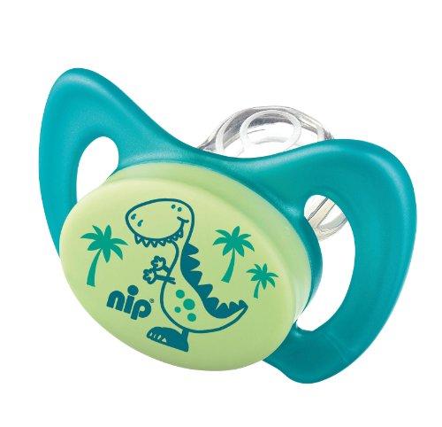 nip Miss Denti 38181-51 Schnuller, Dentalschnuller Doppelpack, Dino und Delphin ohne Zähnchen,...