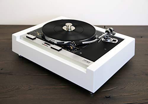 Restaurierter & Modifizierter Thorens TD 125 MKII Plattenspieler mit SME 3009 Tonarm in weiß - marmoriert