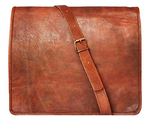 15' Leather Messenger Bag Laptop case Office Briefcase Gift for Men Computer Distressed Shoulder Bag
