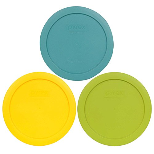 Pyrex 7201-PC 4 Cup (1) Turquoise (1) Edamame Green (1) Meyer Yellow Round Plastic Lids - 3 Pack