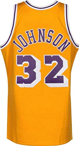 WSUN Maglia da Basket NBA da Uomo, Maglia 32# Magic Johnson dei Los Angeles Lakers Maglia Sportiva Traspirante per Il Tempo Libero NBA Maglietta Swingman,XL(180~185CM/85~95KG)