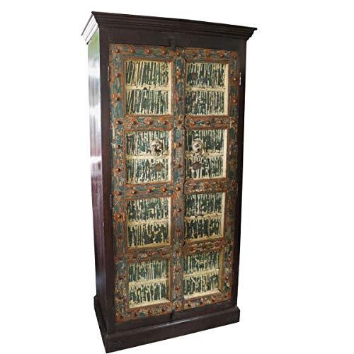 Oriental Galerie Massiver Palisanderholzschrank mit antiken Türen Indien 197 cm Wohnzimmerschrank Küchenschrank Geschirrschrank Bücherschrank