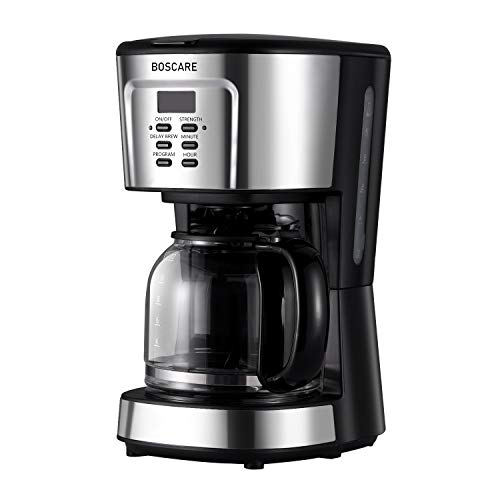 BOSCARE programmable coffee maker,12-14 Cup Drip Coffee Brewer, Mini Coffee Machine with Auto Shut-off,Strength Control,Silver Black