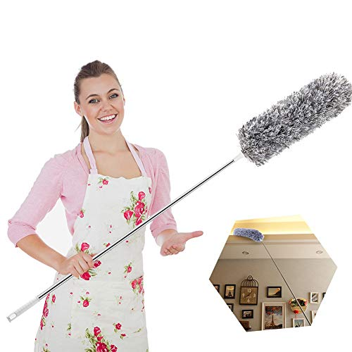 Extendable Feather Duster,Microfiber Duster with 100'' Telescopic Stainless Steel Extension Pole and...