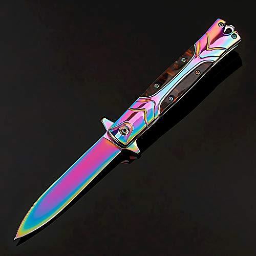 Eil Klappmesser Scharfes Outdoor Messer Jagdmesser & Survival Knife Einhandmesser Taschenmesser mit Edelstahlklinge (Brown)