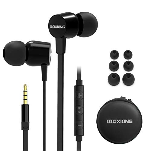 Wired Tangle Free Earphones With for kids women small ears, Comfortable and Lightweight Flat Cable Ear bud with Microphone and Volume Control for Cell Phone Laptop (Black-1)