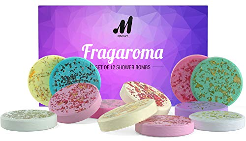 Flagaroma Set of 12 Shower Bombs – Shower Steamers - Aromatherapy – Essential Oils for Home Spa – in Shower Steamer Spa - Vaporizing Shower Tablets – for Mom and Wife – Perfect Set