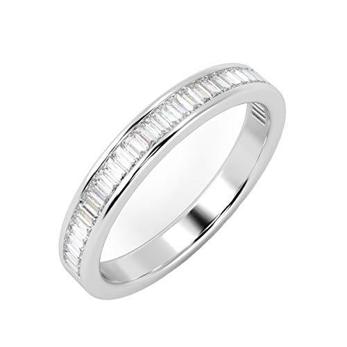 0.40 Carat Baguette Diamonds Channel Set Half Eternity Ring in 18k White Gold Size L