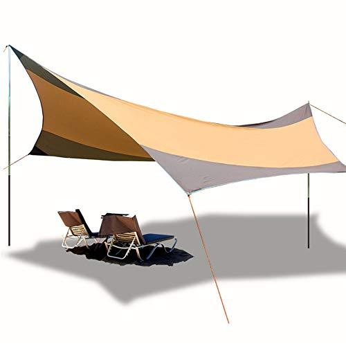 JDK Tienda de campaña Tarp, Playa protección UV Abrigo de la Lluvia Mosca Sun, Ligero Impermeable Toldo Toldo con los Postes, portátil para el Recorrido Que acampa al Aire Libre