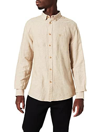 Springfield Camisa Lino, Beige, M para Hombre